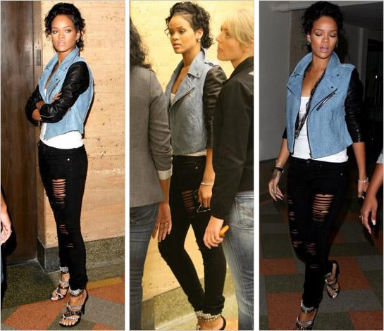 Rihanna v čiernych roztrhaných džínsach