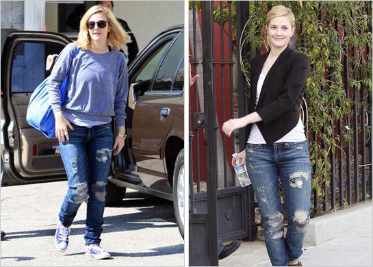 Drew Barrymore v roztrhaných džínsach