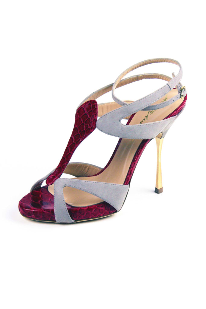 Sivo bordové sandále s hadím vzorom na vysokom podpätku