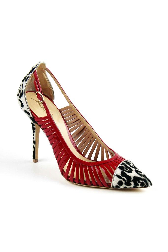 Červeno leopardie sandále na vysokom podpätku