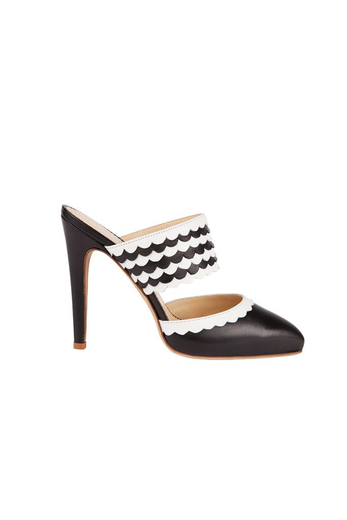 Čierno biele papuče na vysokom podpätku