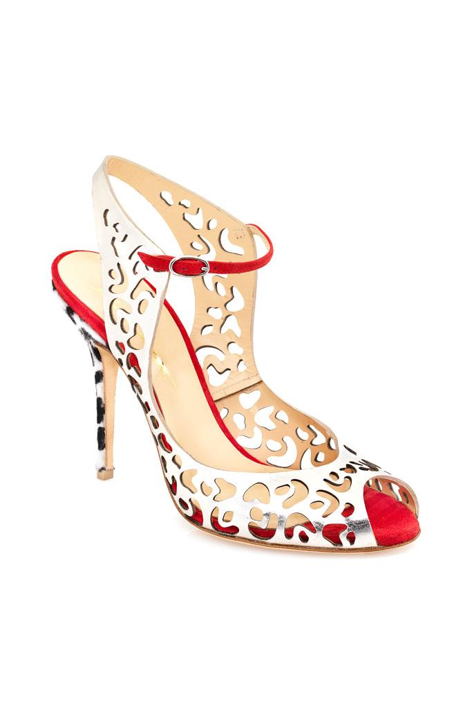 Strieborno červené sandále na vysokom podpätku