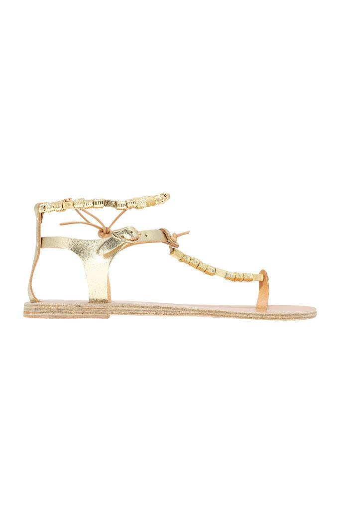 Zlaté sandále typu gladiátorky