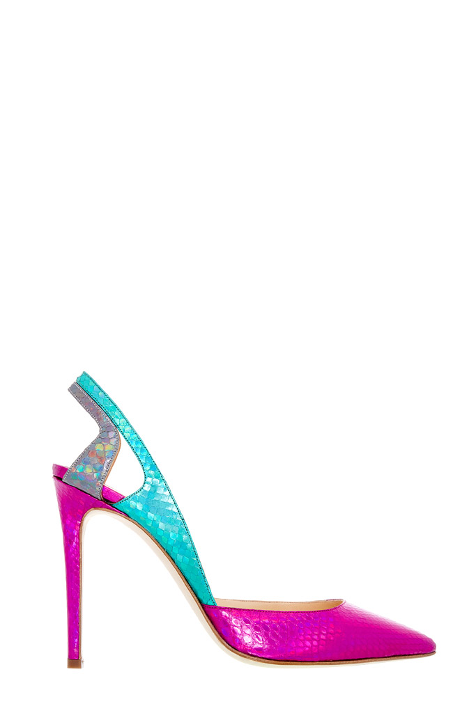 Fuchsiovo tyrkysové sandále na vysokom podpätku