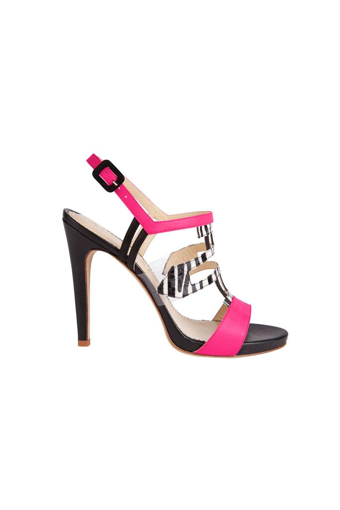 Ružovo čierne sandále na vysokom podpätku