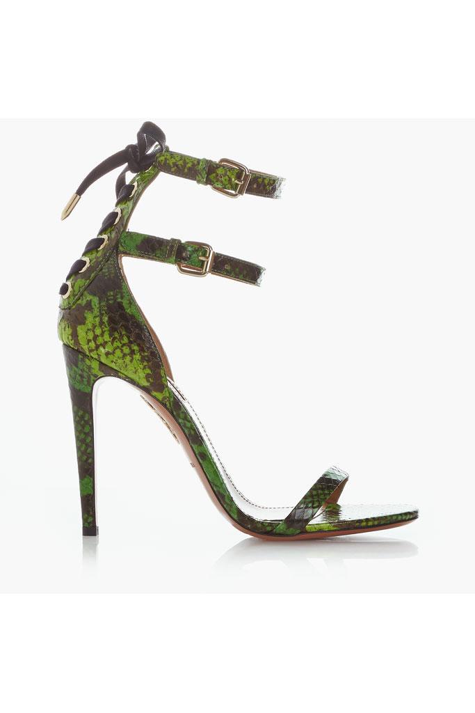 Tmavozelené sandále na vysokom podpätku s hadím motívom