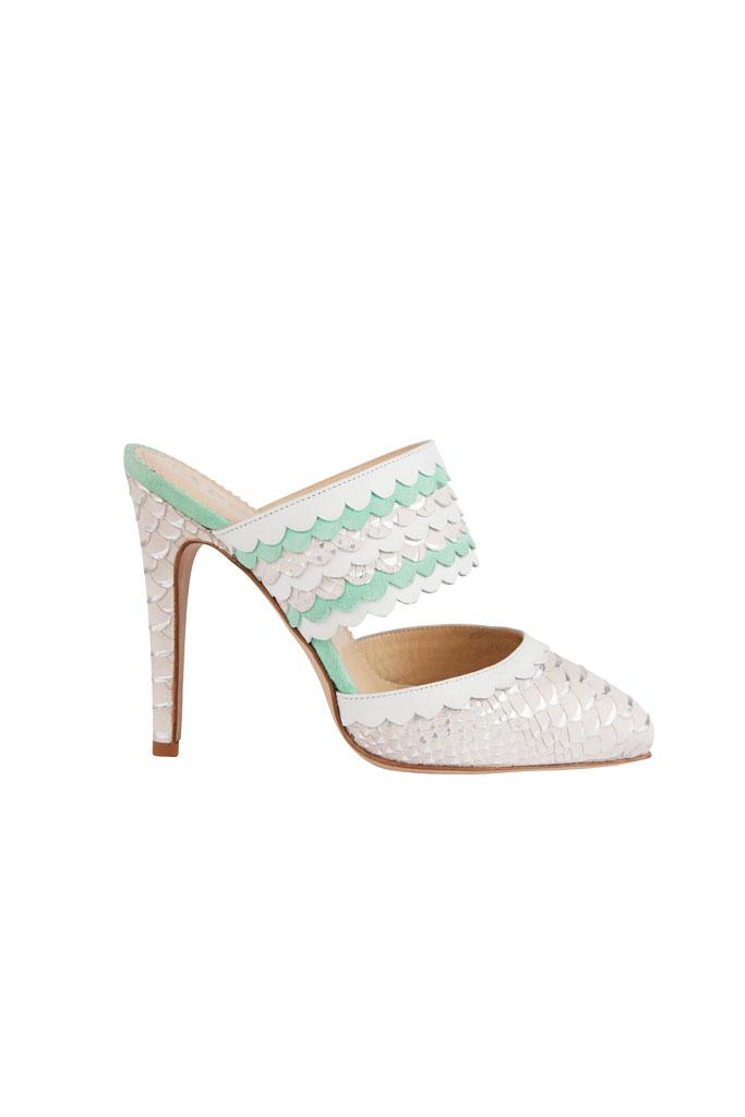 Biele mentolové papuče na vysokom podpätku