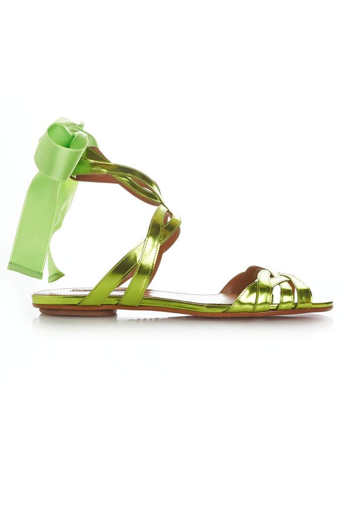 Trávovozelené sandále na nízkej podrážke