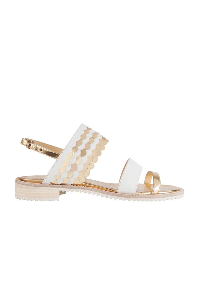 Bielo zlaté sandále na nízkom podpätku