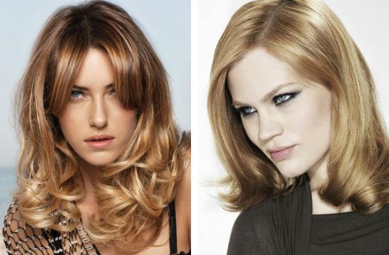 Vľavo zlatá blond vpravo jahodový blond odtieň vlasov