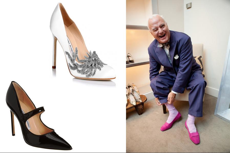 Veselý Manolo Blahnik si skúša dámske topánky