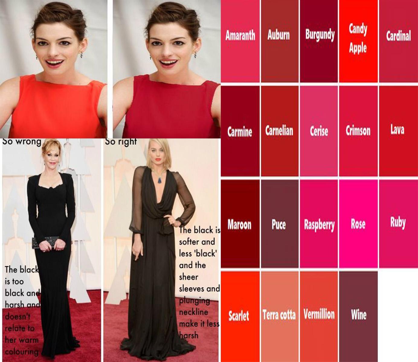 ukážka správne zvoleného odtieňa červenej a čiernej farby