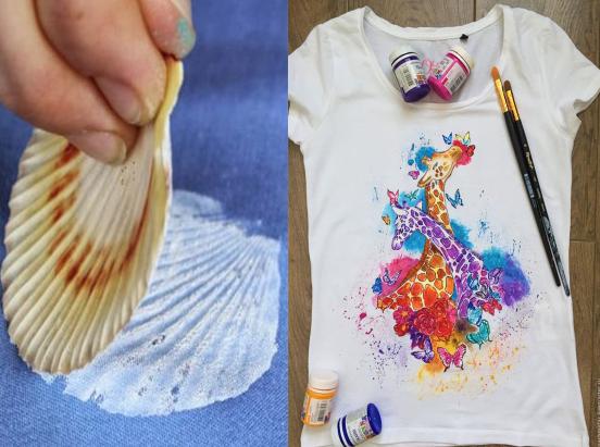 Ukážka premalovaného trička farbou na textil