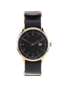 Unisex hodinky v zlatej farbe s čiernym koženým remienkom CHPO Harold Gold
