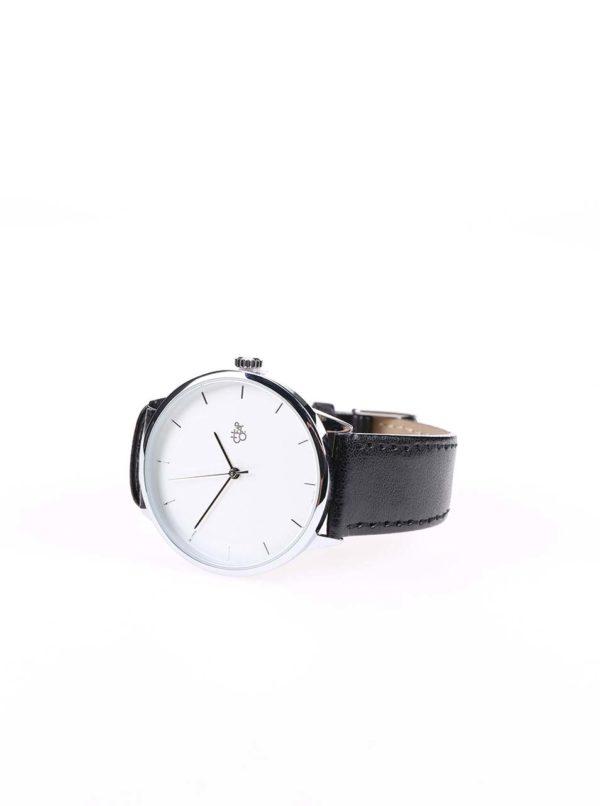 Unisex hodinky v striebornej farbe s čiernym koženým remienkom CHPO Khorshid Silver