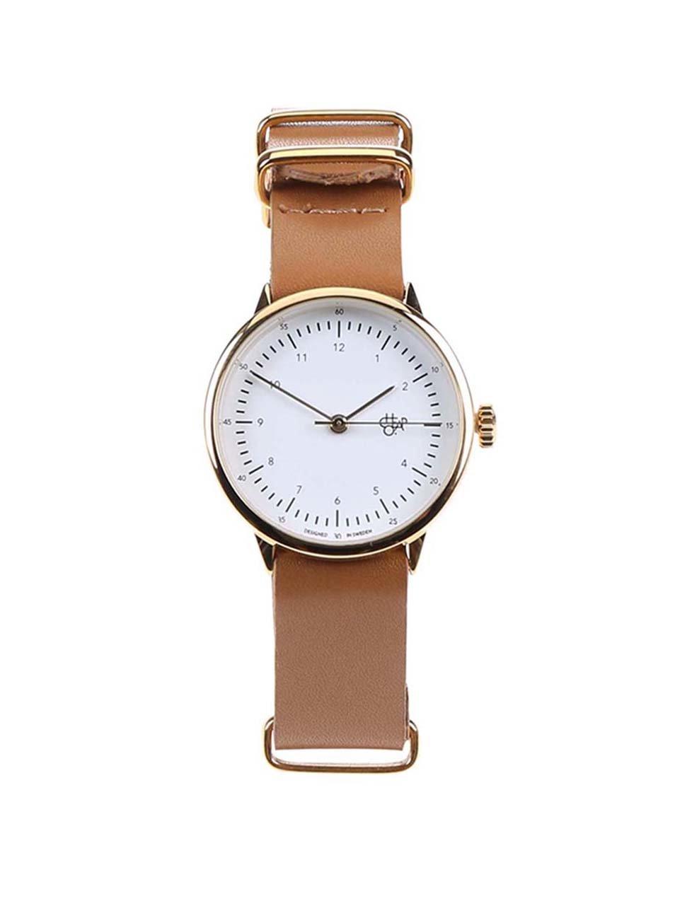 870c05f385c2 Dámske hodinky v zlatej farbe s hnedým koženým remienkom CHPO Harold Mini  Gold