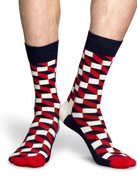 Červeno-bielo-modré unisex vzorované ponožky Happy Socks Filled Optic