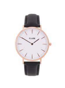 Bielo-čierne unisex kožené hodinky CLUSE La Bohème Rose Gold