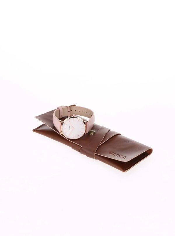 Bielo-ružové dámske kožené hodinky CLUSE La Bohème Rose Gold
