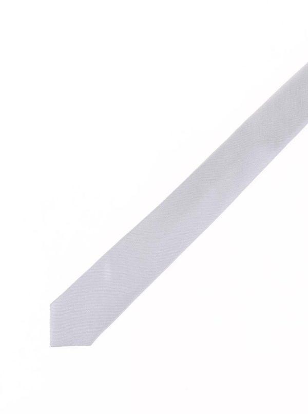 Hodvábna slim kravata v striebornej farbe Selected Homme Plain