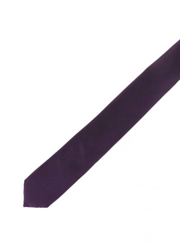 Tmavofialová hodvábna kravata Selected Homme Plain