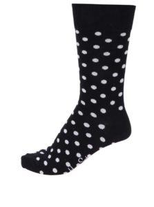 Čierne unisex ponožky s bielymi bodkami Happy Socks Dot