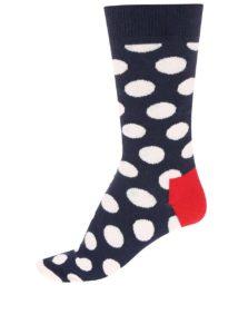 Tmavomodré unisex ponožky s bielymi bodkami Happy Socks Big Dots