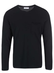 Čierne tričko s dlhým rukávom Selected Homme Pima Florence