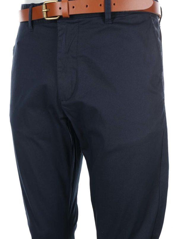 Tmavomodré slim fit nohavice s opaskom Selected Homme Yard