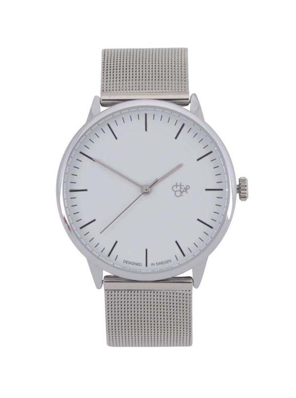 Unisex hodinky v striebornej farbe s nerezovým remienkom CHPO Nando Silver