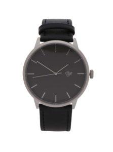 Unisex hodinky v striebornej farbe s čiernym remienkom z vegánskej kože CHPO Khorshid Metal