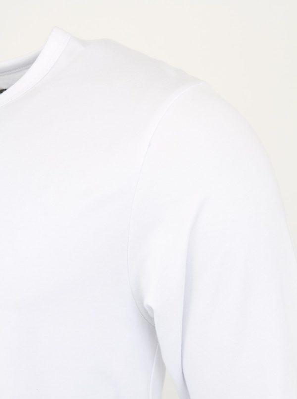 Biele tričko s dlhým rukávom Jack & Jones Basic