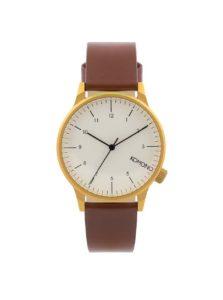 Unisex hodinky v zlatej farbe s hnedým koženým remienkom Komono Winston Regal