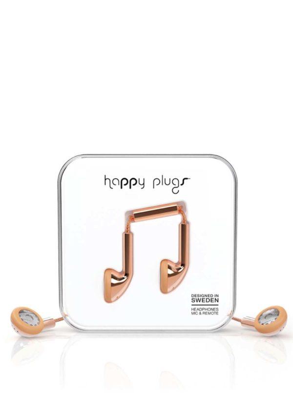 Earbud slúchadlá v zlatoružovej farbe Happy Plugs