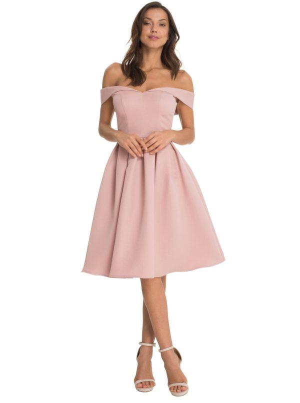 Ružové šaty so spadnutými ramenami Chi Chi London Dulce