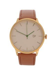 Dámske hodinky v zlatej farbe s hnedým remienkom z vegánskej kože Cheap Monday Nawroz