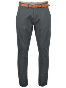 Zelenosivé slim fit chino nohavice Selected Homme Yard