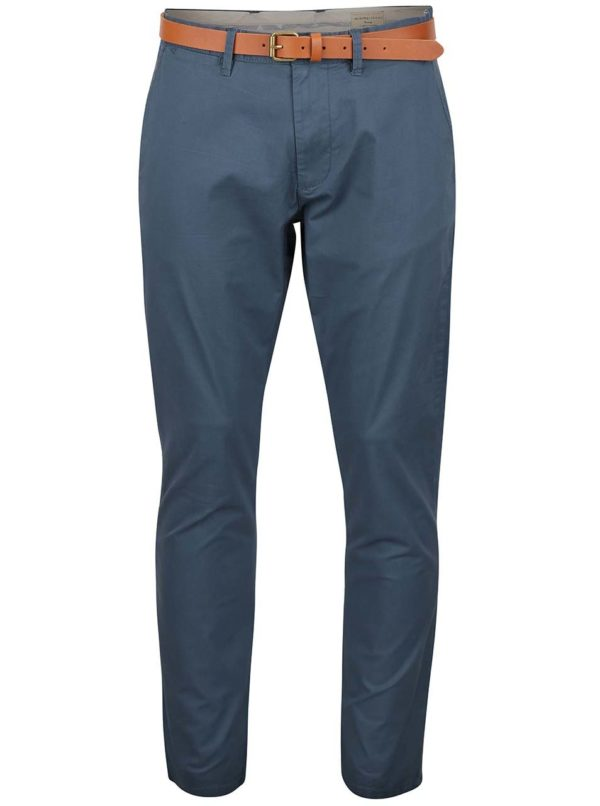 Sivomodré slim fit chino nohavice Selected Homme Yard