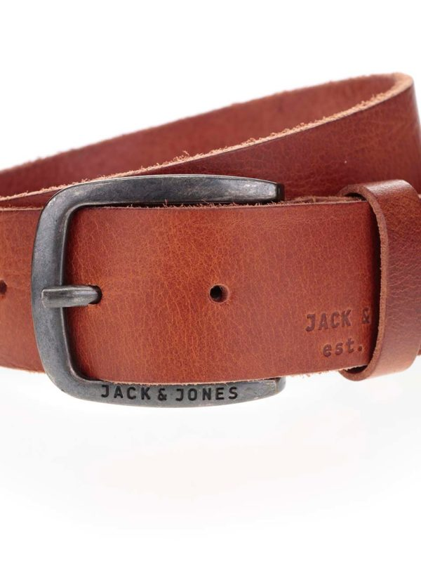 Hnedý kožený opasok Jack & Jones Paul