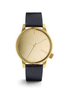 Unisex hodinky v zlatej farbe s tmavomodrým remienkom Komono Winston Mirror