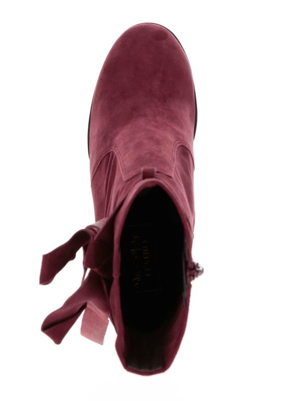 Vínové semišové členkové topánky na podpätku Miss Selfridge