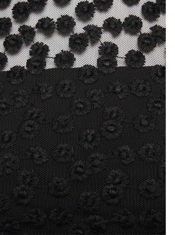 Čierne šaty s čipkovaným topom French Connection Chelsea
