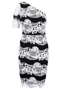 Bielo-čierne čipkované šaty s jedným rukávom Little Mistress