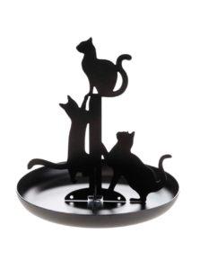 Čierny stojan na šperky s mačkami Kikkerland Cat