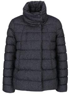 Tmavomodrá dámska melírovaná bunda s golierom Geox Down