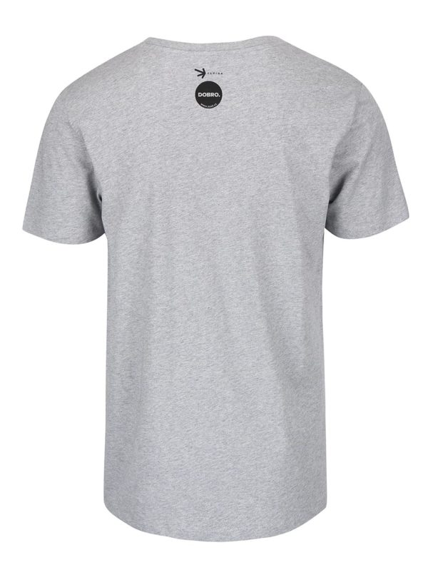 """""""Dobré"""" sivé pánske tričko s potlačou Elpida"""