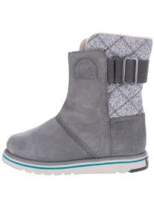 Sivé kožené vodeodolné zimné topánky SOREL Rylee