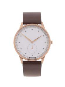 Pánske hodinky v zlatej farbe s tmavohnedým koženým remienkom HYPERGRAND