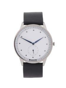 Pánske hodinky v striebornej farbe s čiernym koženým remienkom  HYPERGRAND