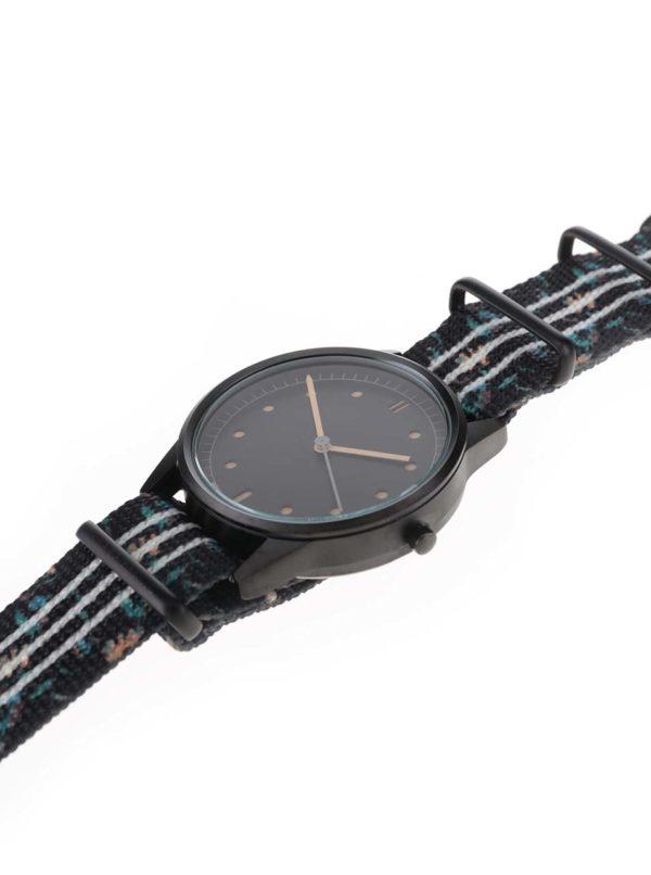 Čierne pánske hodinky s textilným vzorovaným remienkom HYPERGRAND